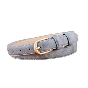 Thin Belts for Women Belt Female Gold Pin Buckle PU Leather Belt