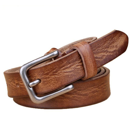Thin Belt for Women Genuine Leather Metal Pin Buckle