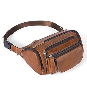 Genuine Leather Travel Waist Pack Fanny Pack Belt Waist Bags Phone Pouch Small Chest Messenger