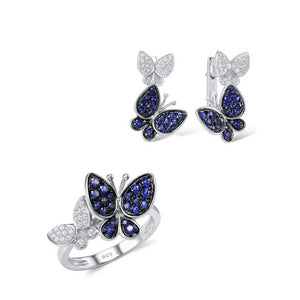 Jewelry Set for Women Gorgeous Butterfly Earrings Ring Set Genuine 100% 925 Sterling Silver Sparkling