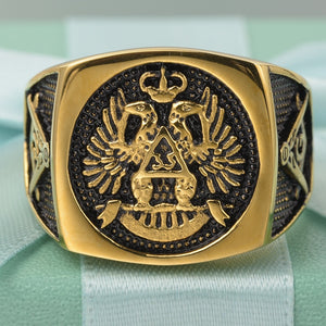 Master Freemason Masonic Signet Rings Eagle Titanium Stainless Steel Iced Out Bling Gold Ring for Men Jewelry