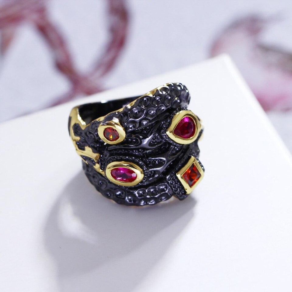 Big Gothic Ring Vintage Black Gold - Synthetic Cubic Zirconia