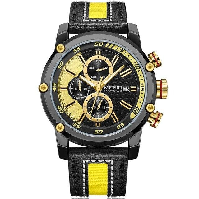 Men's Luminous Quartz Watch With Leather Strap And Auto Date - GiftWorldStyle - Luxury Jewelry and Accessories