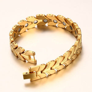 Women's  Gold-color Magnetic Bracelet For Energy,Pearl-clasps - GiftWorldStyle - Luxury Jewelry and Accessories