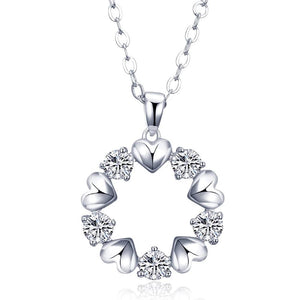 Hearts Shape Cubic Zirconia Pendant Necklace for Women Rhodium Color Collana