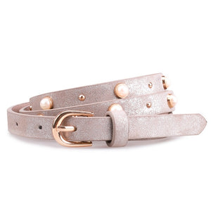 Pearl Belts Women Leather Jeans Belt Designer Women's Skinny Strap For Dress Party Shiny Belt