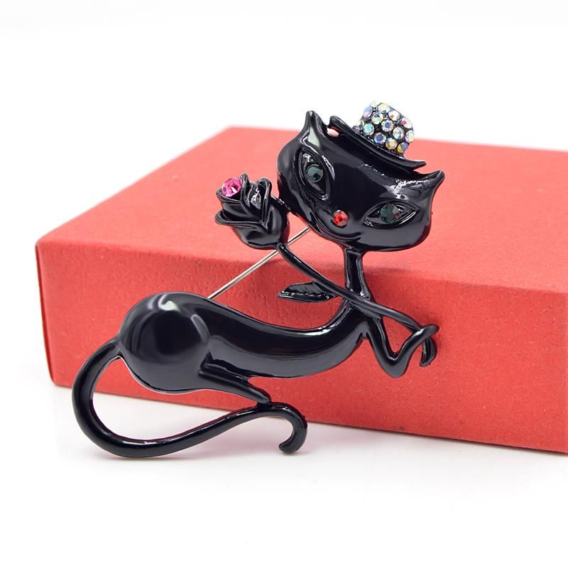 Black Enamel Holding Flower Kitty Brooch Pin