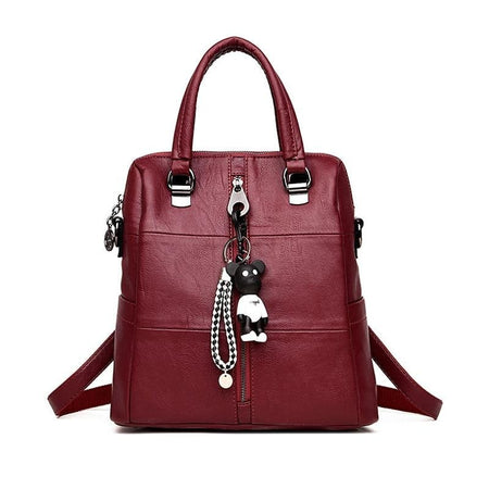 Women's Bear Charm Leather Backpack
