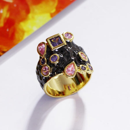 Purple Pink CZ Cocktail Ring for Women Gothic Vintage Jewelry Black Gold Color