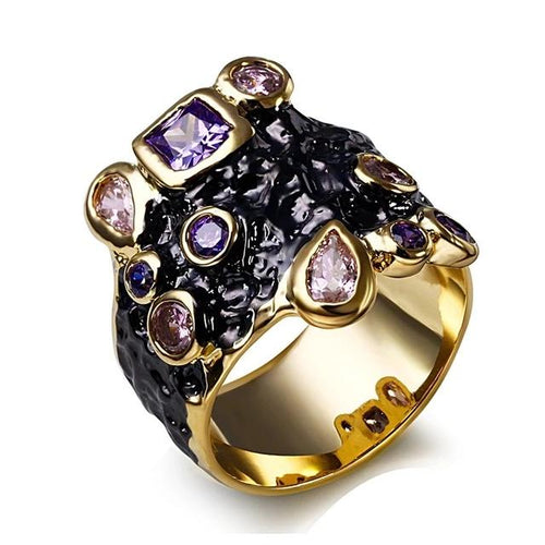 Gothic Vintage Purple Pink CZ Cocktail Ring For Women - GiftWorldStyle - Luxury Jewelry and Accessories