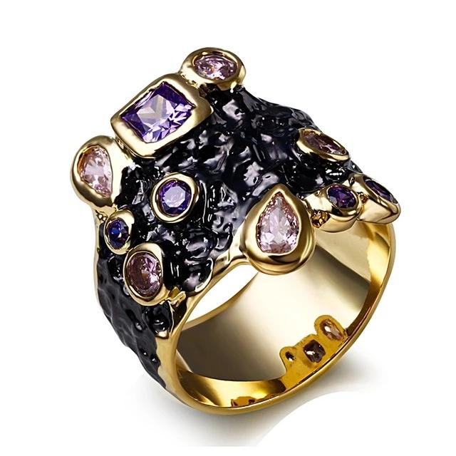 Gothic Vintage Purple Pink CZ Cocktail Ring For Women