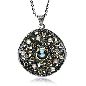 Gothic Pendant Necklace For Women - Mixed Cubic Zirconia, Synthetic Pearl