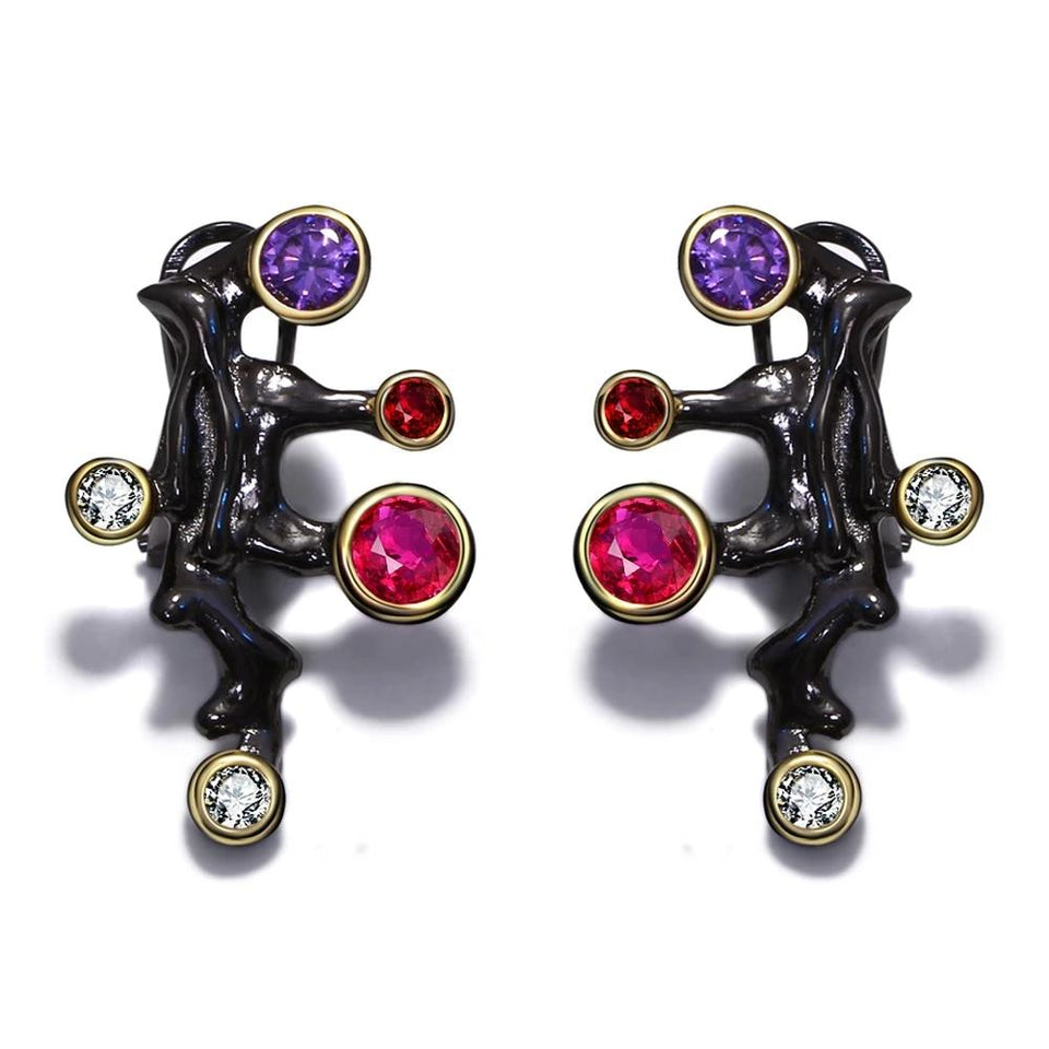 Gothic Design Long Stud Earrings - Purple Red CZ Stones