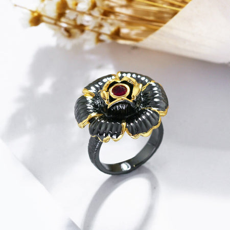 Blossom Flower Rings for Women Vintage Gold Color Holiday Party Gothic Jewelry Fuchsia Zircon