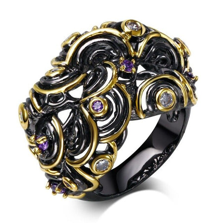 Twisted Cross Look Hollow Black Gold Purple CZ Ring - GiftWorldStyle - Luxury Jewelry and Accessories