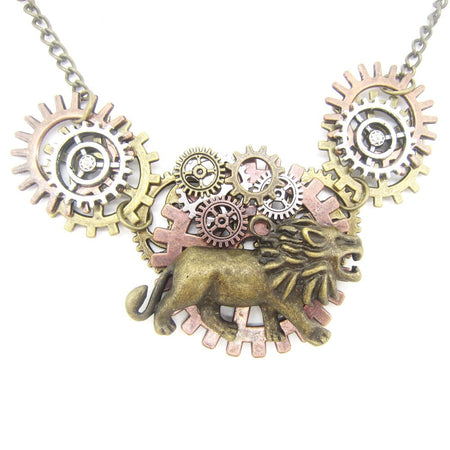 Short Handcraft Steampunk Necklace With  Mighty Lion,DIY Mutly Gears