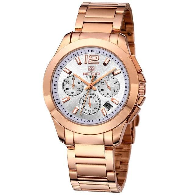 Men's Steel Chronograph Quartz Watch With Hours Display And Stop Watches - GiftWorldStyle - Luxury Jewelry and Accessories
