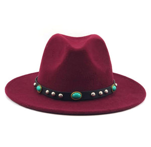 Wool Women Men Felt Fedora Hat Bohemia Ribbon Elegant Lady Jazz Church Godfather Sombrero Caps