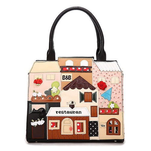 Leather Handbag With Hard Handle And Cartoon