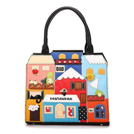 "Leather Handbag With Hard Handle And Cartoon "" Restaurant"" - GiftWorldStyle - Luxury Jewelry and Accessories"
