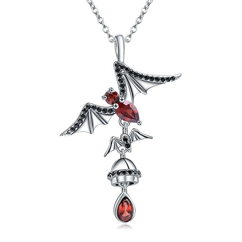 Gothic Ballet Bat Necklace - 925 Sterling Silver - GiftWorldStyle - Luxury Jewelry and Accessories