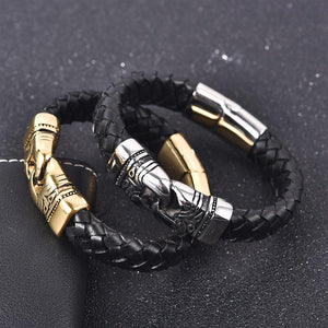 Punk Braided Leather Bracelet - Stainless Steel Magnetic Clasp