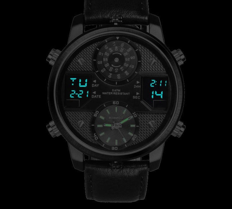 Digital Sports Watch With 3 Time Zone LED Dial- Luminous