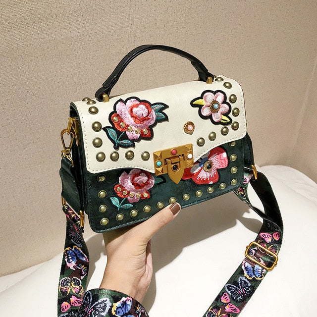 PU Leather Bag In two Color With Embroidery Flowers - GiftWorldStyle - Luxury Jewelry and Accessories