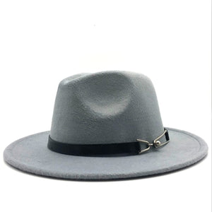 Women Wool Vintage Gangster Trilby Felt Fedora Hat With Wide Brim Gentleman Elegant Lady Belt Jazz Caps