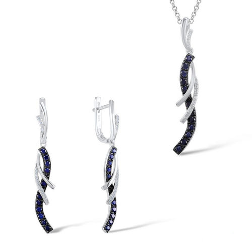 Jewelry Set For Women Charming Blue White CZ Earrings Pendant Set Shiny 925 Sterling Silver