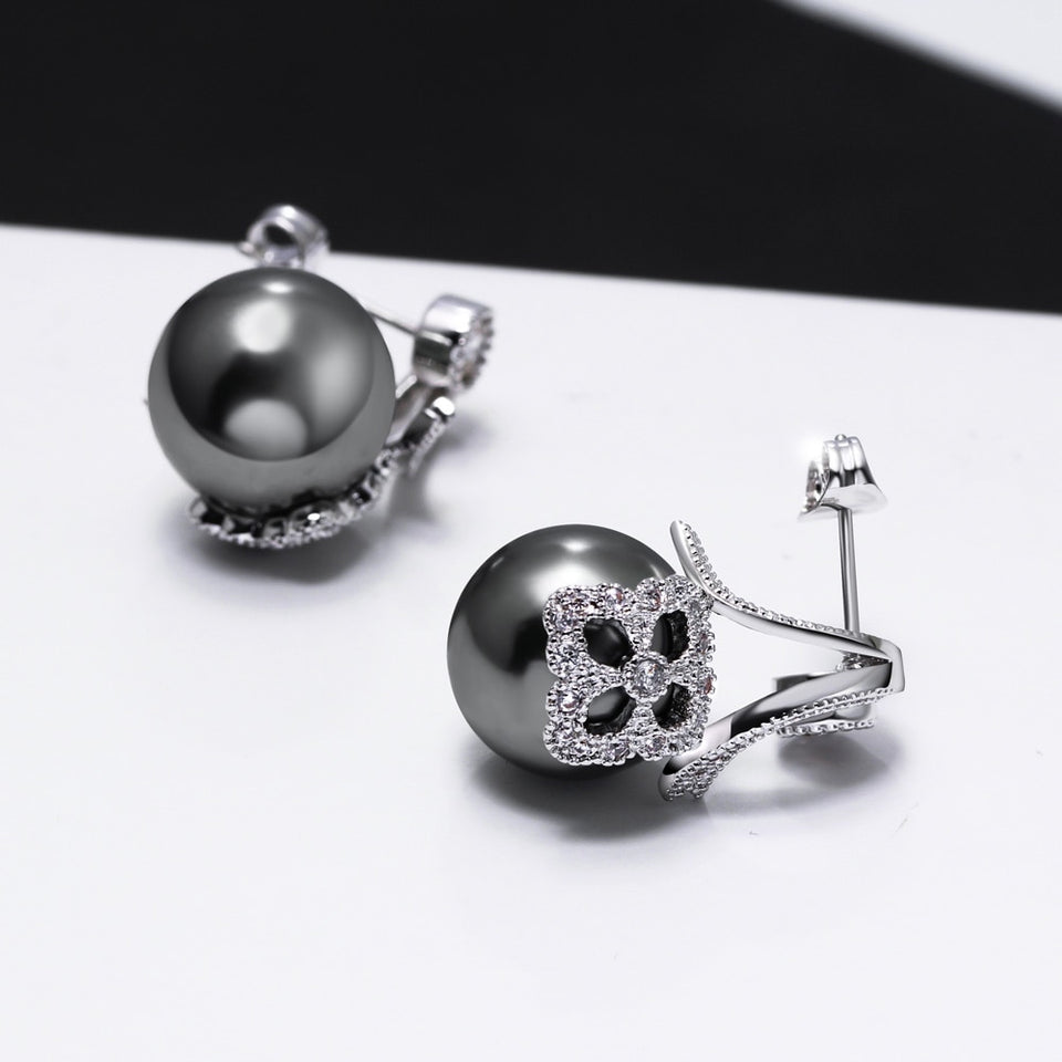 Synthetic Grey Pearl White Cubic Zirconia Earrings