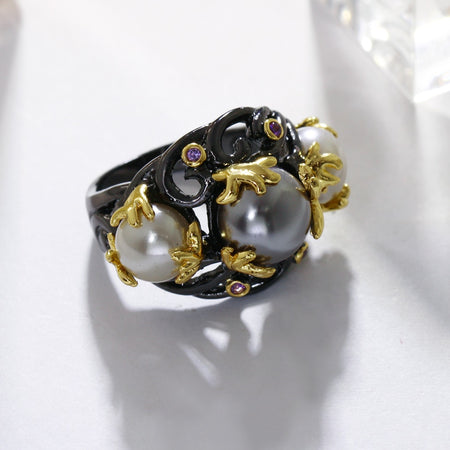 Gray Tone Created Pearls Ring for Women Purple CZ Vintage Frauenringe Gothic