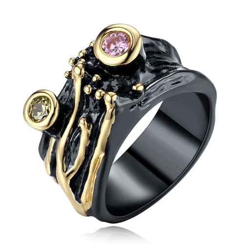 Gothic Wide Vintage Rings for Women Black Gold Color Pink Olivine Zirconia Bijoux