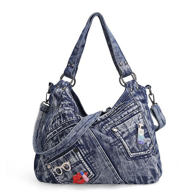 Women's Handbag Denim With Pockets And Lip Applique - GiftWorldStyle - Luxury Jewelry and Accessories