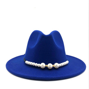 Felt Hat Women Fedora Hats Pearls Belt Vintage Trilby Caps Wool Fedora Warm Jazz Hat Chapeau