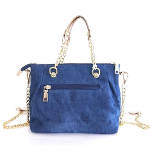 Small Handbag From Denim With Chain And Elephant Embroidery