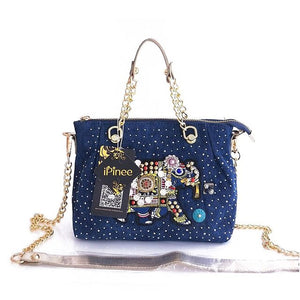 Small Handbag From Denim With Chain And Elephant Embroidery - GiftWorldStyle - Luxury Jewelry and Accessories