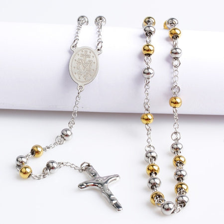 316L Religious Necklace With Beads And Cross Pendant