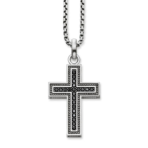 Men's CZ Cross Sterling Silver Pendant Necklace