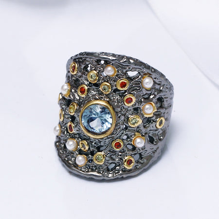 Gorgeous Big Women Ring Blue Zircon Matching With Colorful CZ and Beads - GiftWorldStyle - Luxury Jewelry and Accessories