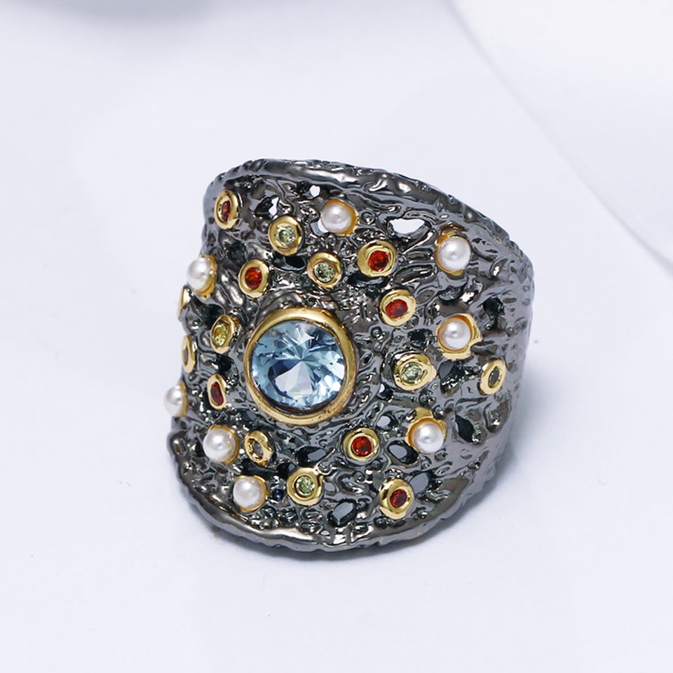 Gorgeous Big Women Ring Blue Zircon Matching With Colorful CZ and Beads