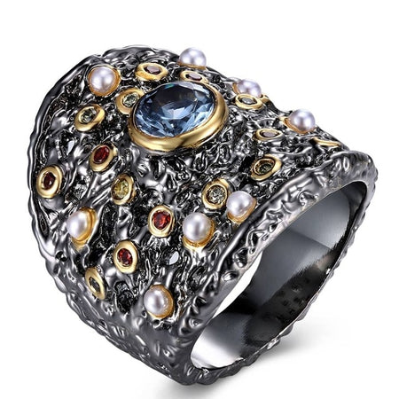 Gorgeous Big Women Ring Blue Zircon Matching With Colorful CZ and Beads Party Jewlery