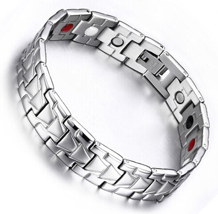 Magnetic Bracelet For Energy Therapy With Stainless Steel Chain