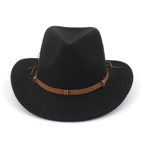 Cowboy Wool Fedora Hat With Leather Decorated And Wide Brim - GiftWorldStyle - Luxury Jewelry and Accessories