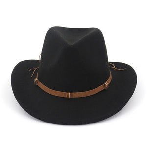 Leather Decorated Western Cowboy Hat Wool Felt Jazz Fedora Hats Wide Brim Panama Formal Cap Sombreros