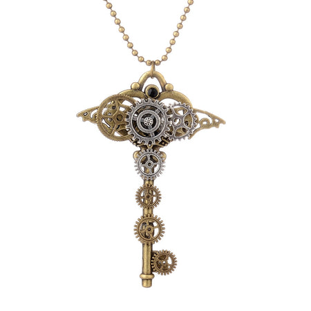 Steampunk Necklace With Bronze Gear Key Pendant,Chain