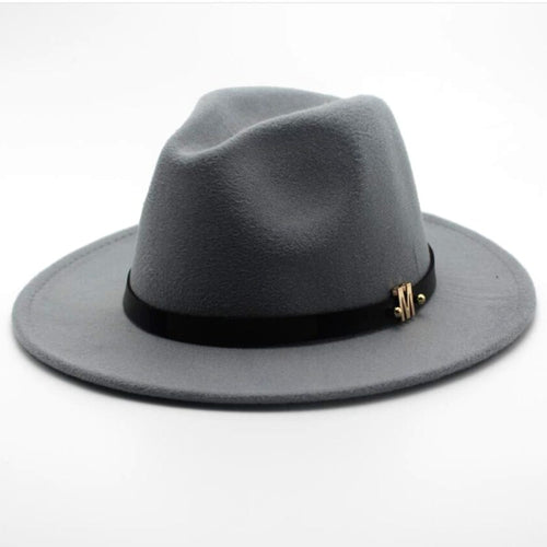 Men's Black Fedora Hat With Woolen Wide Brim, Belt - GiftWorldStyle - Luxury Jewelry and Accessories