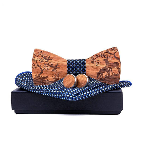 Men's Wildlife Wooden Cufflinks, Bowtie and Pocket Square Set