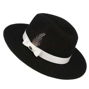 Men Fedora Classical Jazz Cap Felt Hat Gentleman Male Retro Ribbon Feather Decor Wide Brim Wool Felt Jazz Top Hat