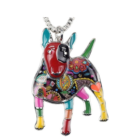 Statement Enamel Alloy Bull Terrier Dog Necklace Pendants Chain Collar
